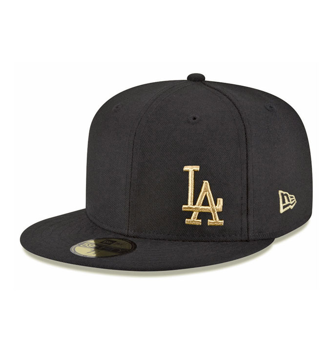 New Era LA Dodgers Flawless Black Gold 59fifty Fitted Cap  d79c22eea16