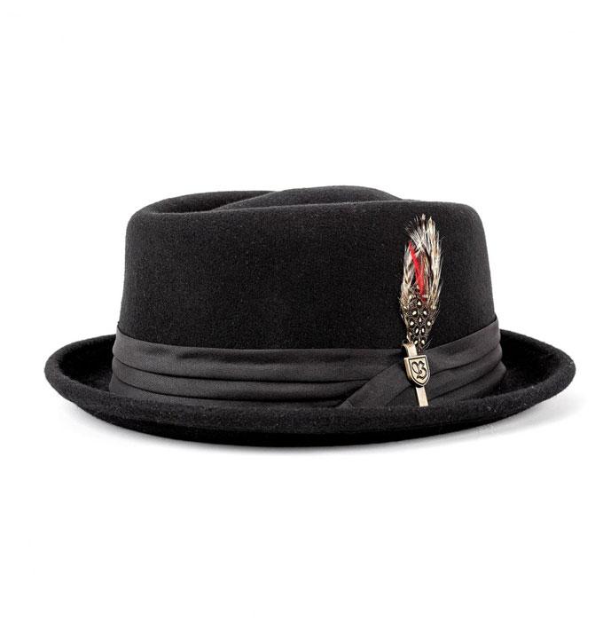 814ae972bfc Brixton Stout Black Porkpie Fedora Hat