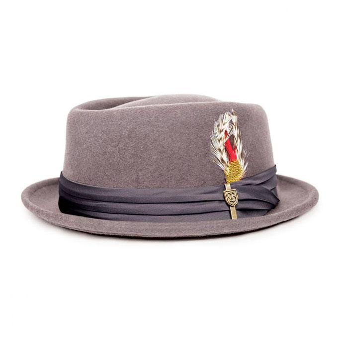 b21789869af Brixton Stout Grey Black Porkpie Fedora Hat