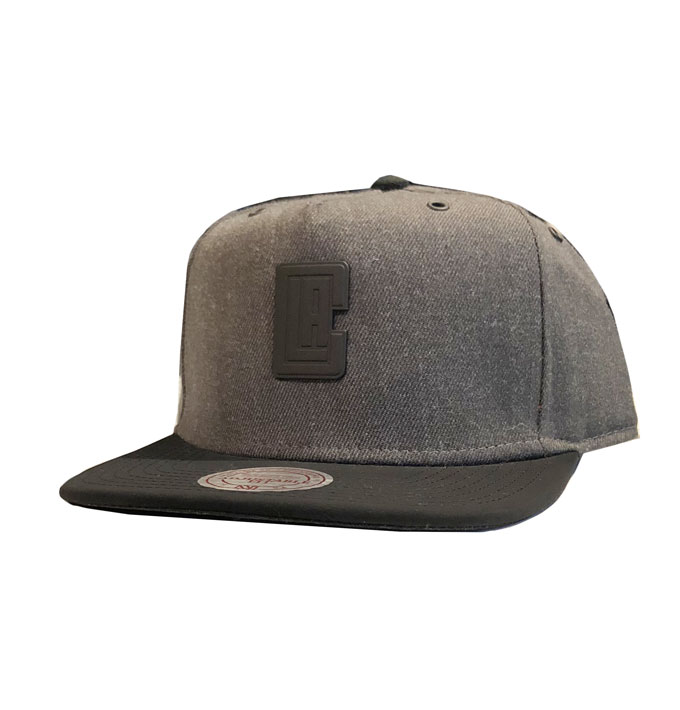 brand new ce442 027dc Mitchell n Ness Grey/Black LA Clippers Snapback