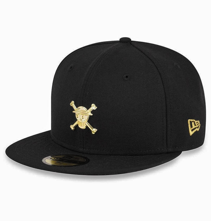 45de7bb85b6 New Era x One Piece Straw Hat Luffy Gold Logo 59fifty Black Fitted ...