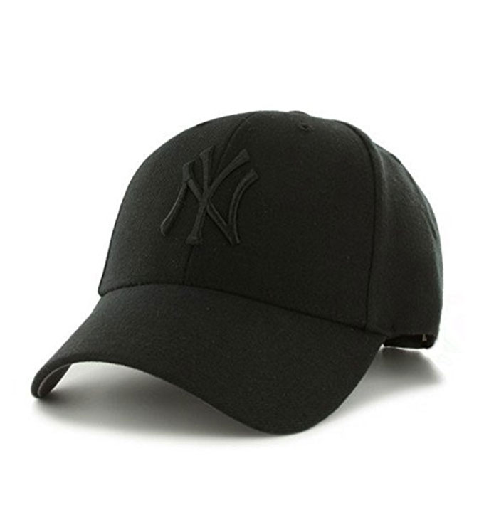 47 Brand MVP New York Yankees Black Logo Black Baseball Curved Cap ... 9ccf708b01b