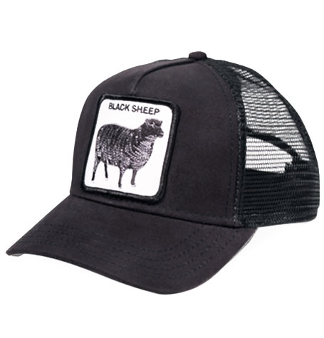 "f2ad001a1ed5c Goorin Bros Animal Farm ""Black Sheep"" Black Trucker Cap"
