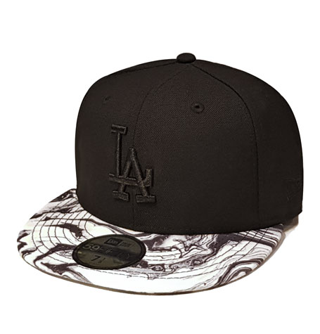 "finest selection 20ebc 7114d New Era Los Angeles Dodgers ""Marble""Black 59fifty Fitted Cap"