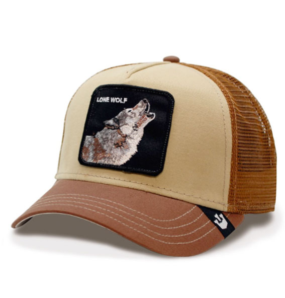 "5f09ffff3645c Goorin Bros Animal Farm ""Lone Wolf"" Brown Trucker Cap"