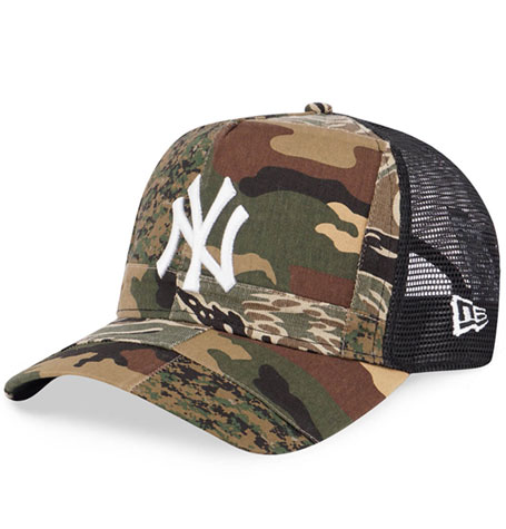 651f546ce New Era New York Yankees Camo Patchwork 9Forty A-Frame Trucker Cap