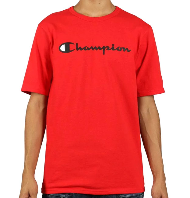 b09127545cf8 Champion Heritage Embroidered Script logo Tee Red   Da'Cave Store Singapore