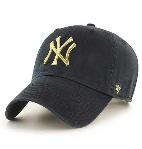 47 brand clean up gold mettalic black cap