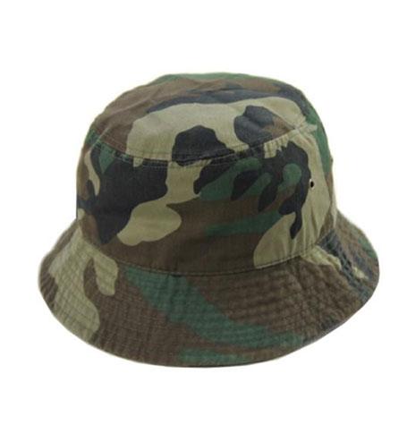 Newhattan Plain Woodland Camo Kids Bucket Hat