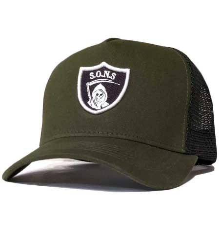 sons reaper no surrender high crown trucker cap